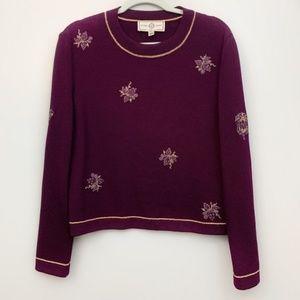 St.John Deep Purple Embellished Wool Sweater L